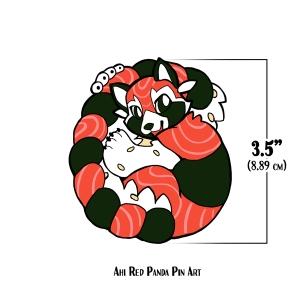 Ahi Red Panda Pin Art
