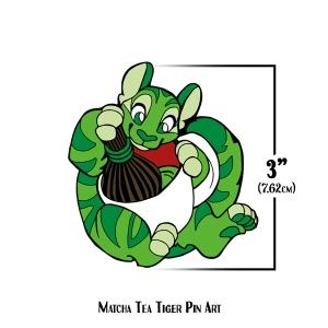 Matcha Tea Tiger Pin Art